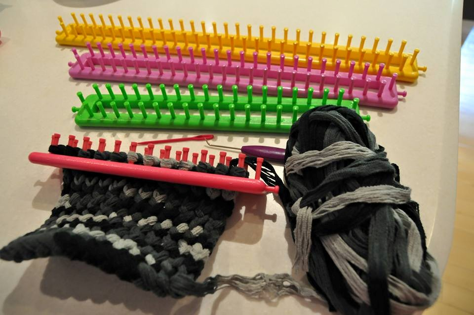 Loom Knitting Kits : Home made scarves loom knitting kits twins and a